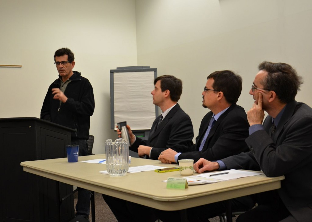 Winnipeg, April 13, 2015: (L-R) Dennis LeNeveu, James Beddome, David Nickarz and Andrew Park. Retired scientist Dennis LeNeveu outlines the serious hazards associated with the shipment of diluted bitumen in an aging pipeline.