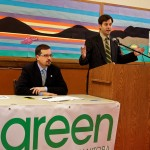 Winnipeg, Dec. 14, 2015: Manitoba Green Party Leader James Beddome and Green Conservation and Water Stewardship Critic David Nickarz introduced a Green Climate Action Plan for Manitoba. Photo: Paul S. Graham
