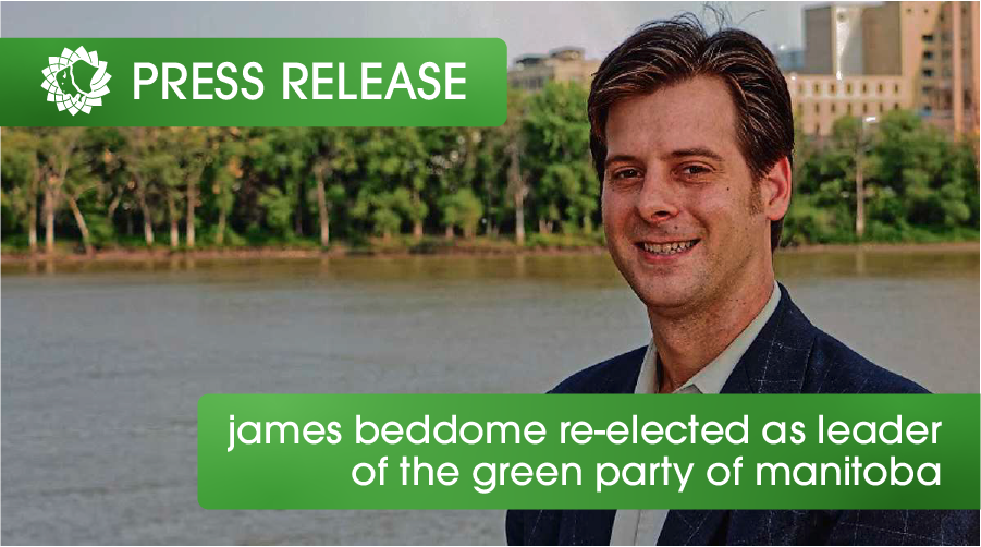 James Beddome Re-elected Leader of Green Party of Manitoba
